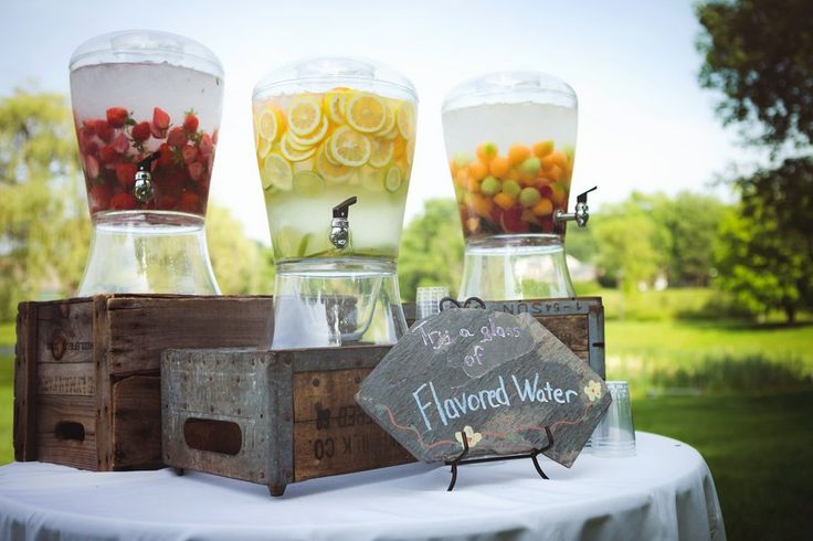Not flavored water, but these jars would be cute for serving drinks at the wedding