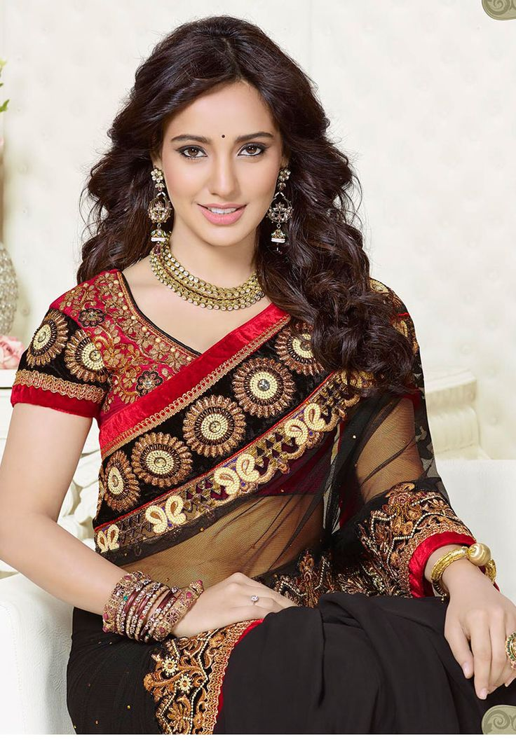 Black Colored Net with Brasso Saree with Maroon