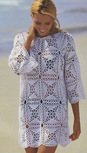 White Top with Square Motif free crochet graph pattern