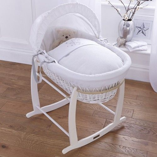 Baby Bassinet Linen Clair De Lune White Wicker Moses Basket Stardust White