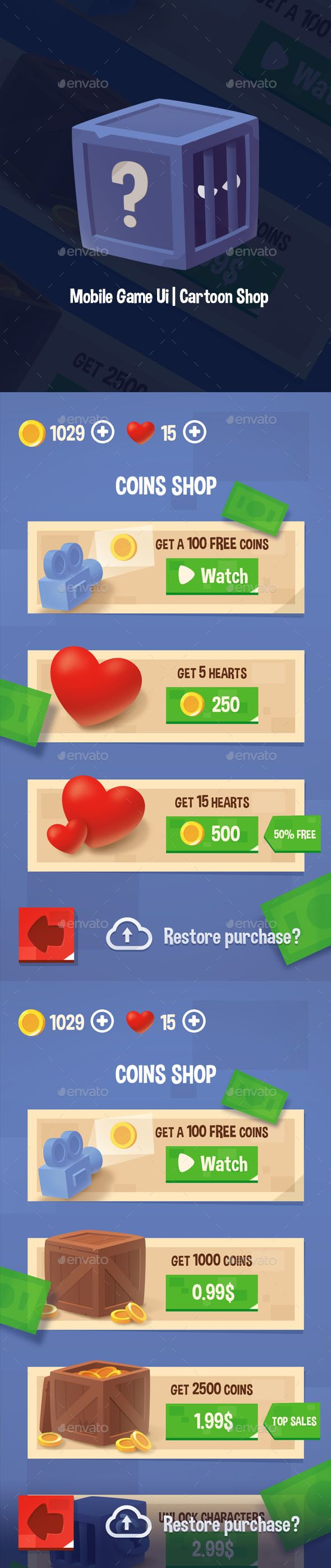 Mobile Game Ui | Cartoon Shop - #User #Interfaces #Game Assets Download here: https://graphicriver.net/item/mobile-game-ui-cartoon-shop/20383168?ref=alena994