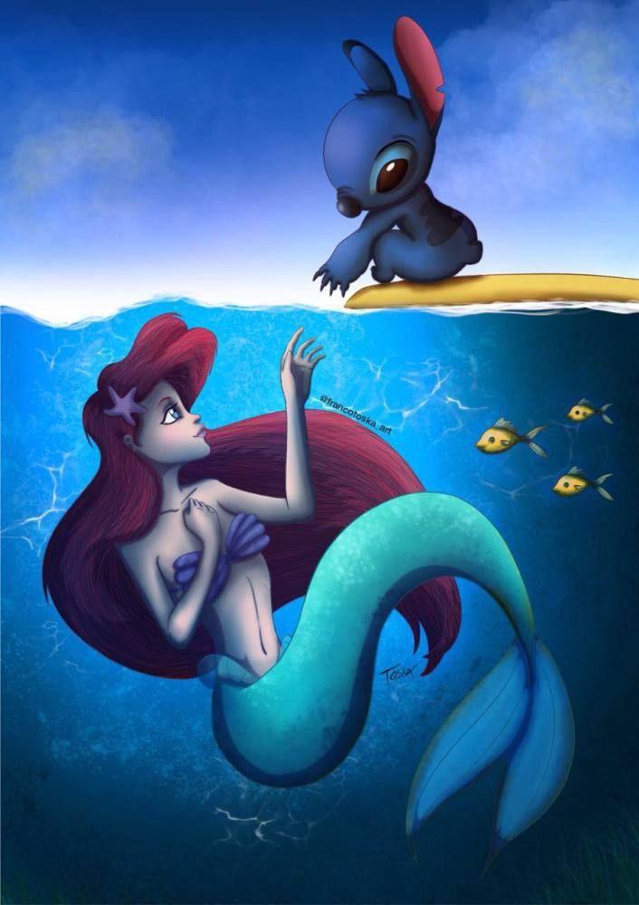 Disney Crossover Ariel Stitch Artistas Talenthouse Disney