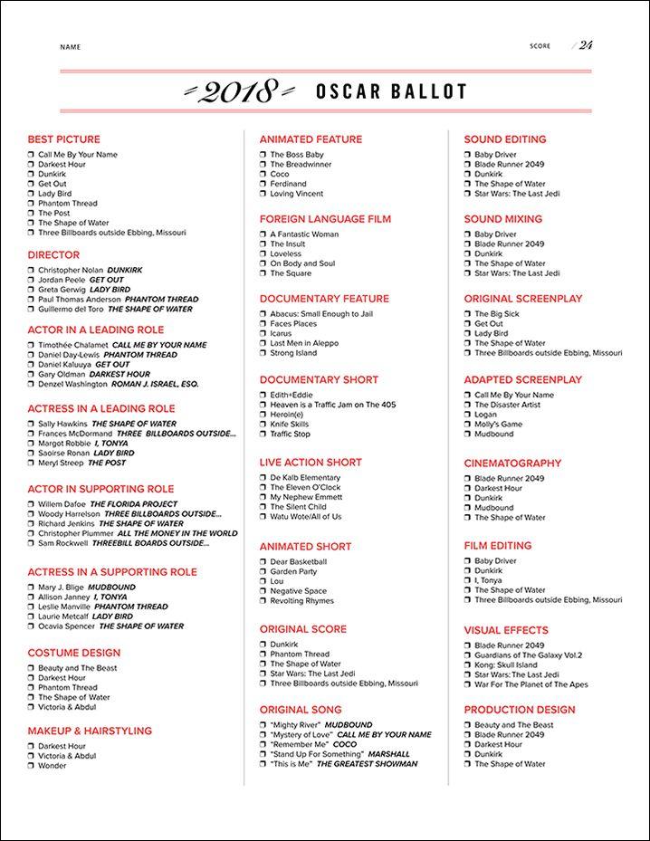 Download 2018 Oscar Ballot Oscar Party Oscar Ballot Oscar