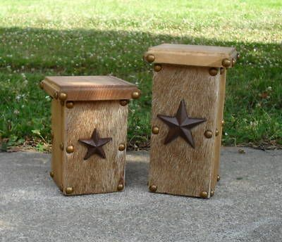 handmade western decor | Cheap | Cowhide & Wood Candle Pillars / Holders / Western Decor Sale