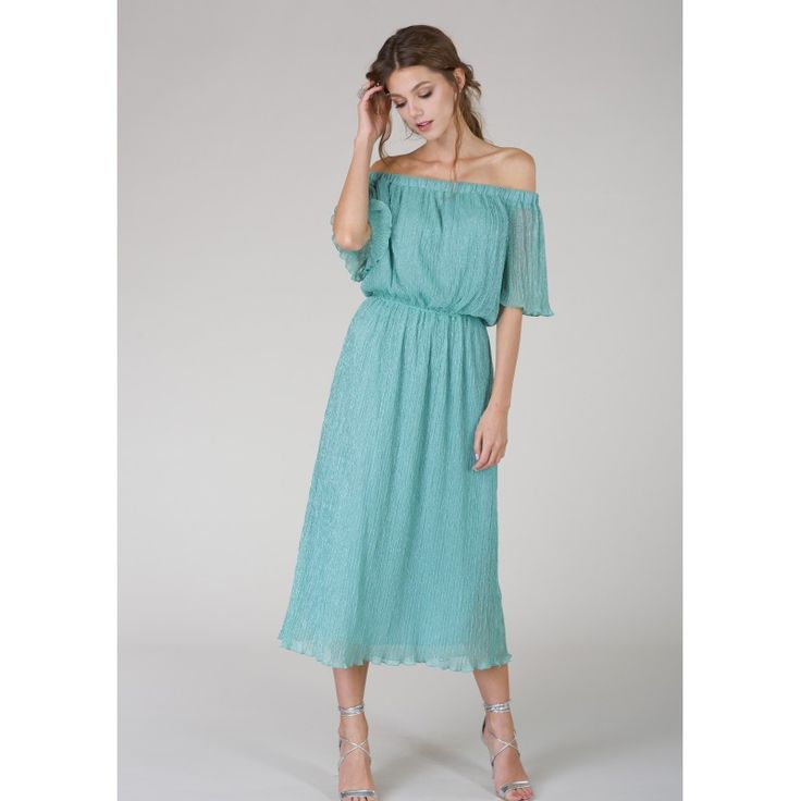 Channel your inner island goddess with this off-the-shoulder midi dress. Made with a soft crinkle fabric, this dress sparkles and glitters when it catches the light. Perfect for a beach event or a day in town, this dress will leave you feeling confident no matter the occasion.