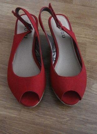 Kup mój przedmiot na #vintedpl http://www.vinted.pl/damskie-obuwie/sandaly/13761249-koturny-czerwone-nowe-bez-palcow