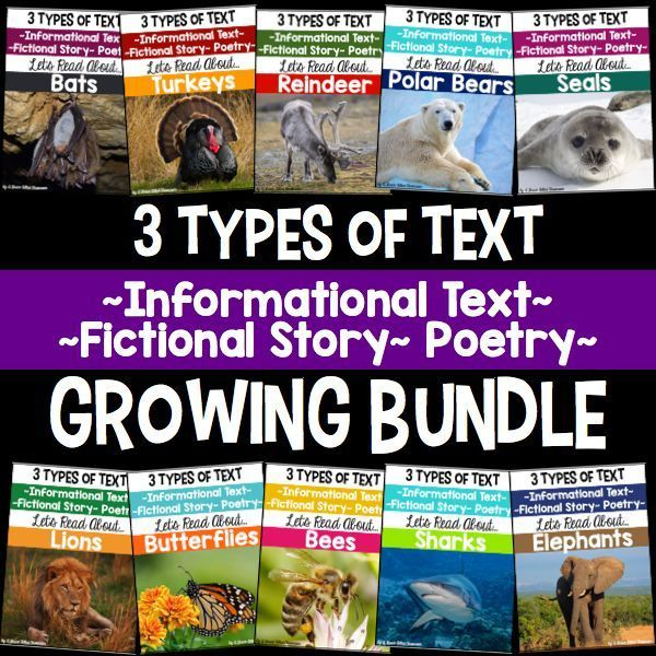 Have your students engaged in different types of text: informational text, stories and poem all year long!