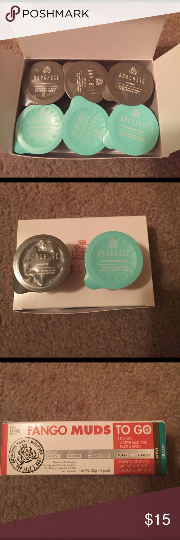 Borghese Active Mud Mask Borghese Fango Muds to go includes 3 active mud for face & body, 3 active mud for delicate dry skin. Great for travel. Never opened. Borghese Makeup