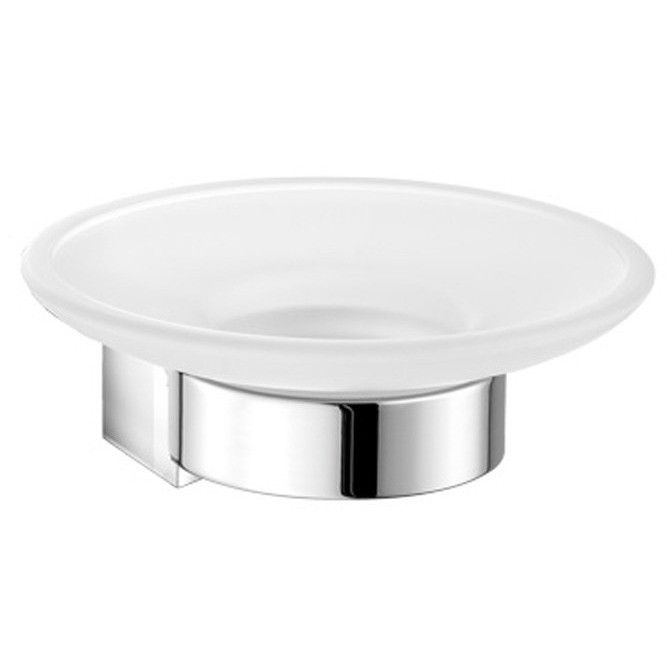 SCBA Alle Wall Mounted Soap Dish Holder Frosted Glass Tray Soap Holder - Brass
