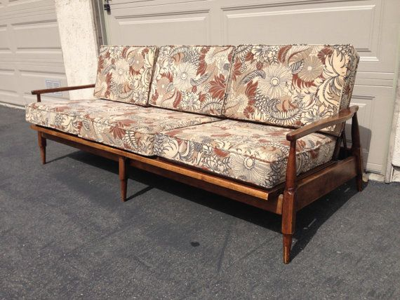 Mid Century Modern Sofa Couch Loveseat Sleeper Daybed Teak Midcentury MCM Seating Guy Rogers Style Danish Retro Vintage Chair Day Bed