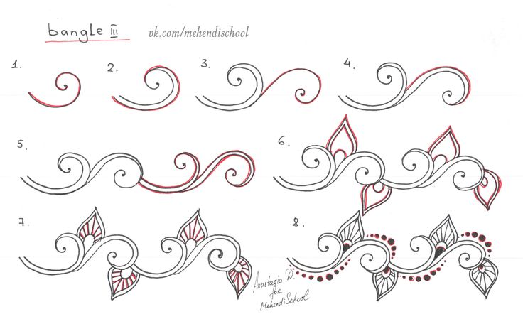 How to draw classic indian henna ornament. Mehndi Pattern for bangle. Tutorial. DIY.