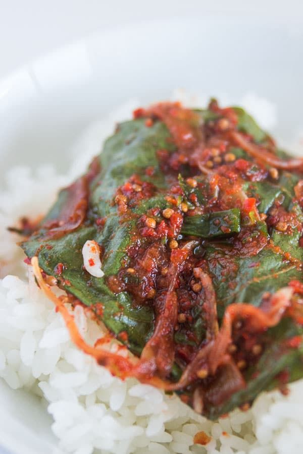 A spicy mixture of gochugaru, onions and kkaennip seeds layered between perilla leaves, this kkaennip kimchi is delicious on hot rice.