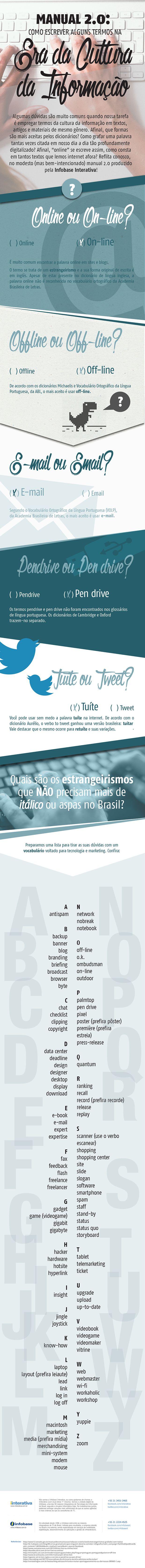 Online ou On-line? Infográfico traz uso adequado de expressões da cultura digital;