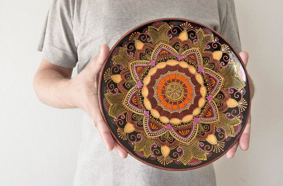 Large decorative plate Mandarin Sunset // Wall hanging by LekaArt, $79.00