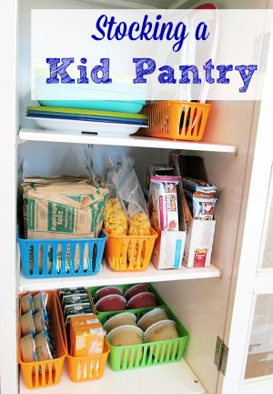 Stocking a kid pantry is easy to do with bags of portioned cereal, granola bars, applesauce, juice and other snacks that are perfect for grab and go!