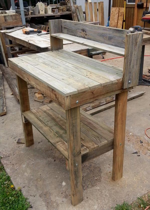 Rustic Pallet Potting Bench   Pallet Furniture DIY