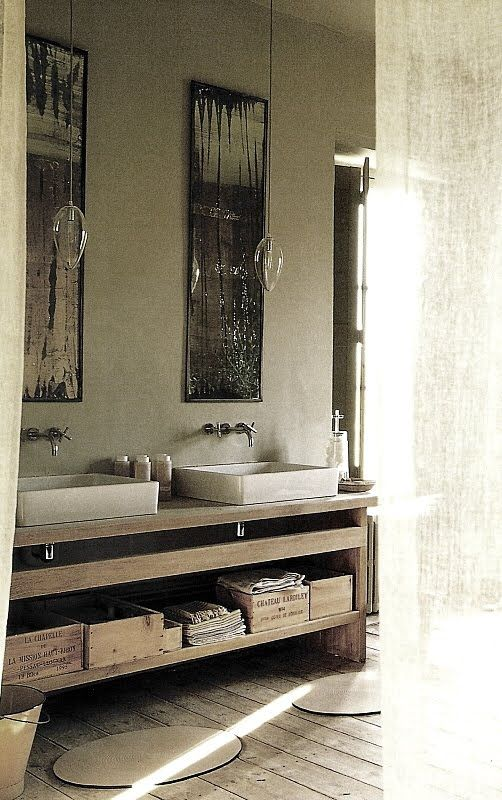 ;: Mirror, Bathroom Design, Riviera, Wine Crates, Rustic Bathroom, Sinks, Powder Rooms, Design Bathroom, Bath Design