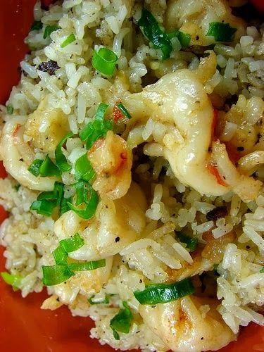 Garlic rice with shrimp