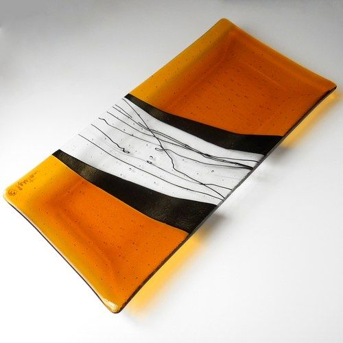 Amber Fused Glass Platter with Iridized Black Accents, 14 x 7 Inches