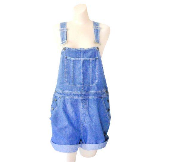 Women Denim Overall Shorts Denim Shortall Denim by TheVilleVintage, $42.99