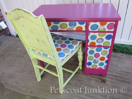 Repainted desk and chair, the polka dots are decoupaged fabric.