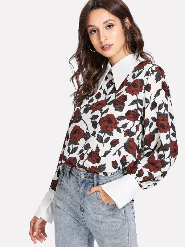 Shop Contrast Collar & Cuff Rose Print Blouse online. SheIn offers Contrast Collar & Cuff Rose Print Blouse & more to fit your fashionable needs.