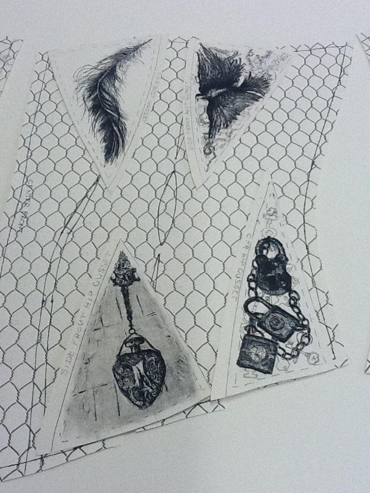 "Pauline Hugo - Corset pattern -""Components of pleasure"". #Intaglio printing #hard ground #printing# corset #lady #women #pleasure #Victorian"