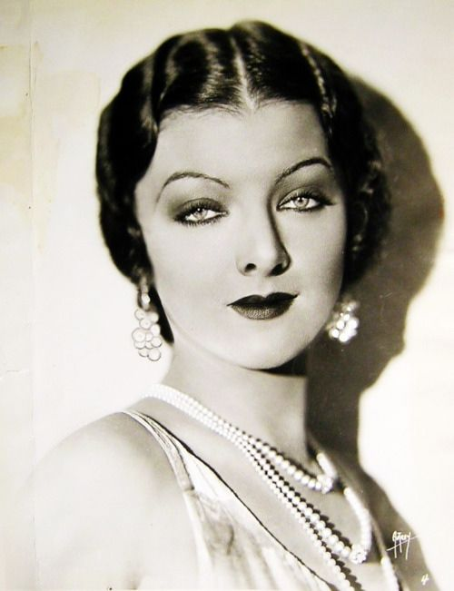 """Myrna Loy... Dramatic eyes...nicknamed """"Queen of Hollywood""""...started in silent films and in 1937 and 38' was at the height of her career.  She felt her best film was with Fredric March in """"The Best Years of Our Lives"""". (1946)"""