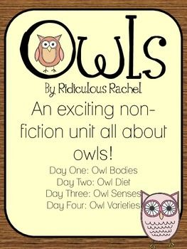Owls: free    A 4 day non-fiction unit all about owls