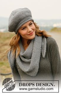 """Set consists of: Knitted DROPS beret and shawl in """"Andes"""" or """"Eskimo"""". ~ DROPS Design"""