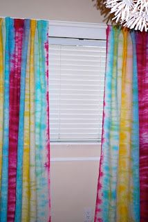 Tie dye curtains with vertical stripes