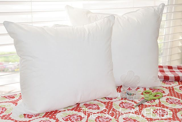 cut a king pillow in half, sew, and you now have 2 quality decorative pillow inserts for a fraction of the cost...BRILLIANT!