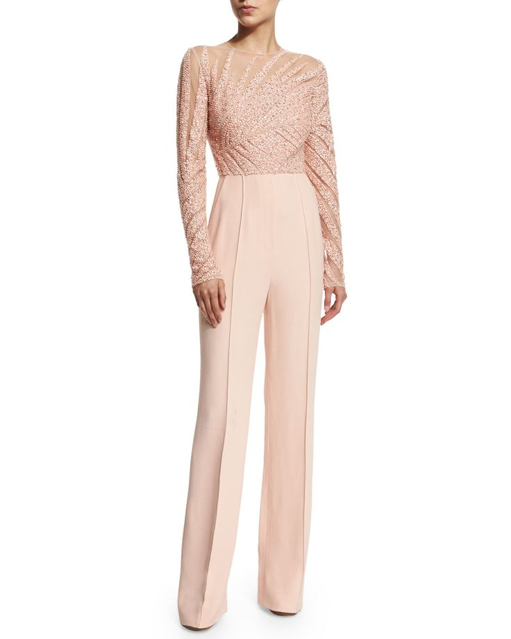 Long-Sleeve+Embellished+Jumpsuit,+Melrose+by+Elie+Saab+at+Neiman+Marcus.