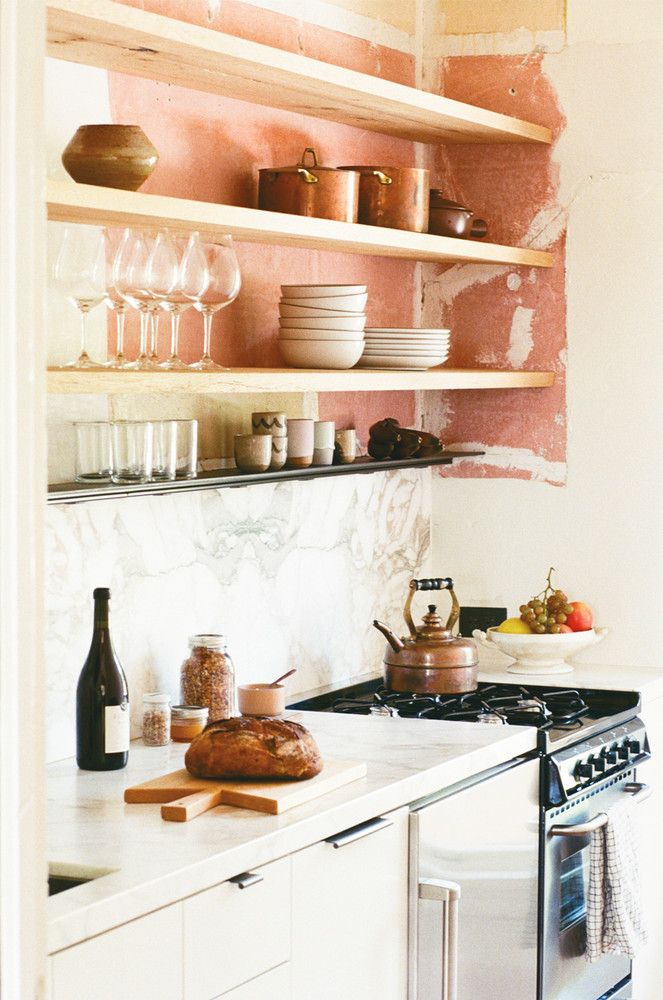 Pink and White Kitchen scribe winery