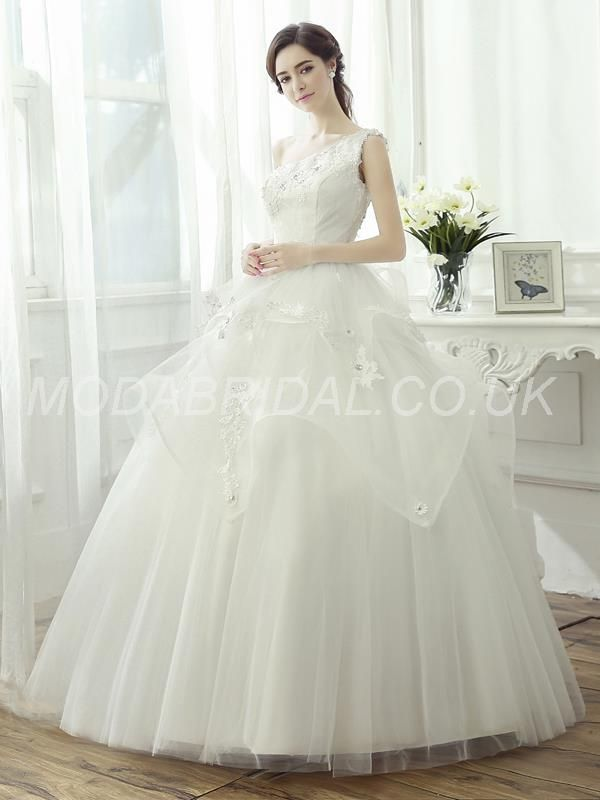 Wonderful One Shoulder Lace Appliques Beading Ball Gown Wedding Dress