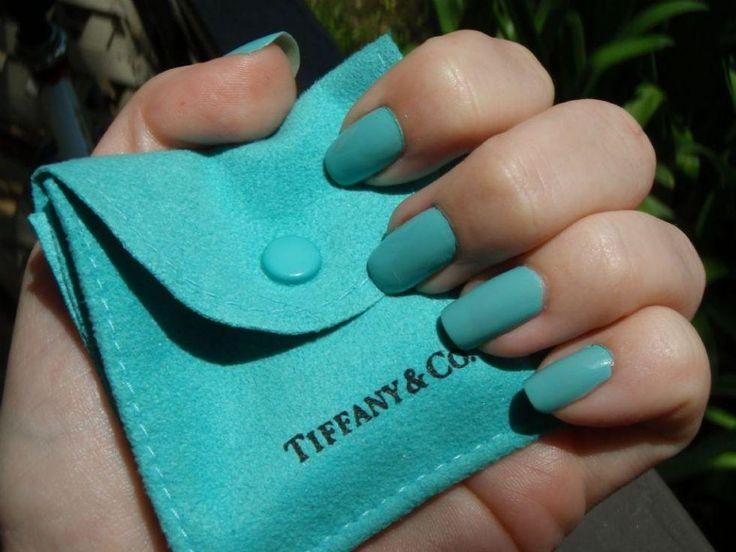 """China Glaze """"For Audrey.""""  Perfect Tiffany blue nail polish."""