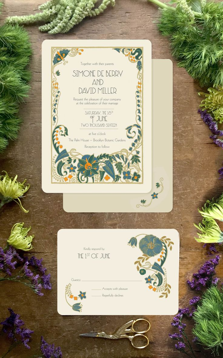 Art Deco wedding invitations and save the dates from GoGoSnap! Get your Gatsby on! Colors are fully customizable to suit your wedding invitation needs.