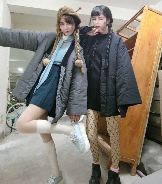 PINKO 秋冬软妹日系和服道袍棉服宽松外套显瘦原宿风加厚保暖羽绒