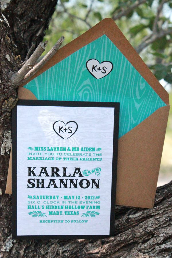 sample wedding invitation email wording to colleagues%0A E essa textura de madeira turquesa eu achei xyk  wood grain embossed   turquoise and black  modern rustic wedding invitation
