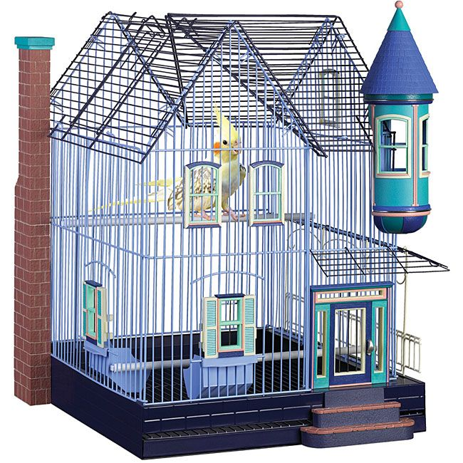 Give your feathered friends a great home while adding to your decor with this colorful decorative bird cage. The birdcage features a classic American home design and is the perfect size for cockatiels, parakeets, and other small to medium-sized birds.
