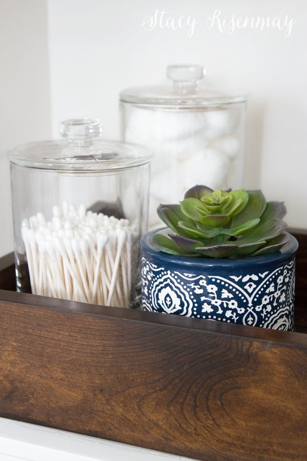 Jars for bathroom supplies! I love the blue and white one :) Sponsored by Better Homes & Gardens at Walmart