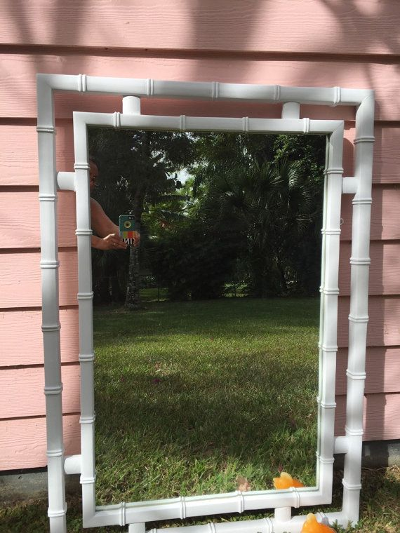 faux bamboo mirror large white faux bamboo mirror palm beach decor chinoiserie tropical hollywood regency at