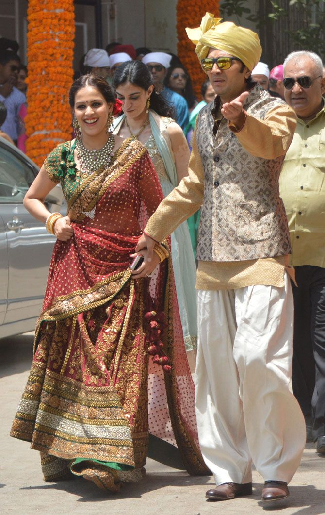 Genelia and Riteish Deshmukh attend Nigel D'Souza's wedding. #Bollywood #Fashion #Style #Beauty #Handsome