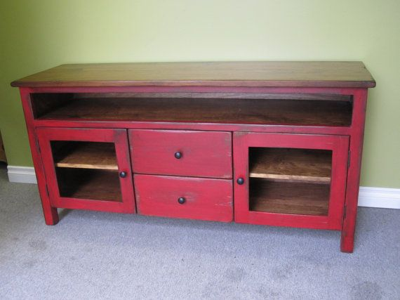 Red TV Stand Wooden 60 Long TV by HarvestTreasuresInc on Etsy