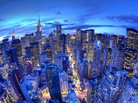 Chrysler Building och silhuett av Midtown Manhattan, New York City, USA Fotografiskt tryck