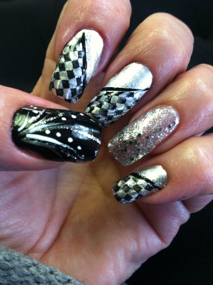 NASCAR race day nails - 11 Best Corvette Nail Designs Images On Pinterest Nascar Nails