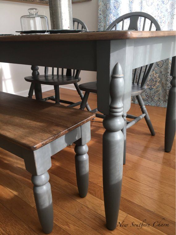 Sold Farmhouse Table With Bench Bench And 2 Chairs Included Etsy