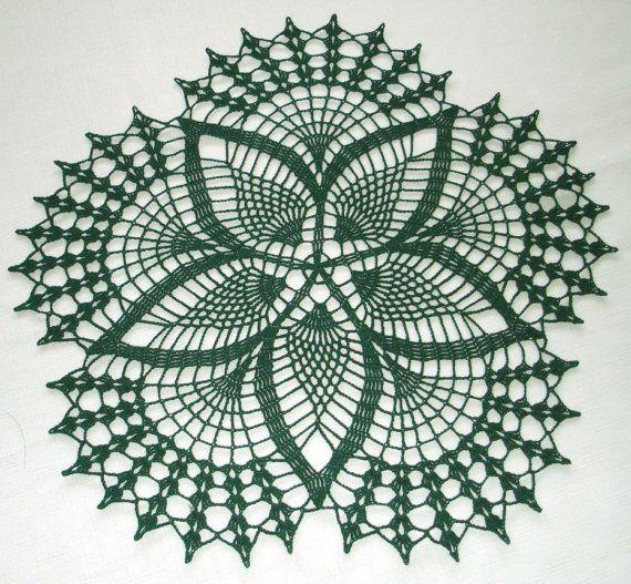 New Handmade Crocheted Fancy Fans Doily in Hunter