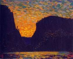 Tom Thomson painting: Petawawa Gorges , night