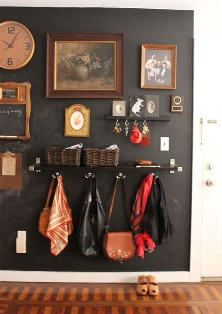 This is so fabulous. Gallery wall, chalkboard paint, clipboard, and hooks, hooks, hooks...